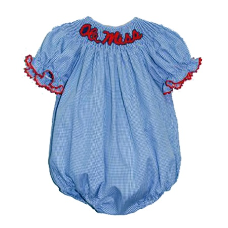 Ole Miss Girls Smocked Bubble from Smocked Auctions