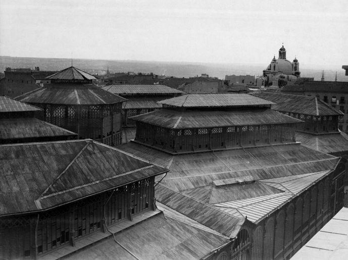 Roof of old Mercado de la Cebada in La Latina neighborhood.
