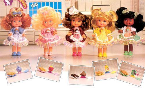1988 Cherry Merry Muffin Dolls... Betty Berry, Cherry Merry Muffin, Chocolottie, Banancy, and Apple Amy