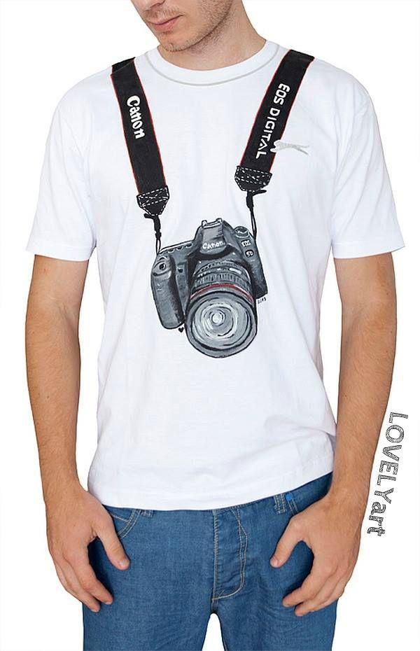 Cvak cvak TRIČKO pre milovníkov fotoaparátov, fotiek..... Ručne maľované tričko farbami na textil Možno spraviť zmeny/farby/nápisy. Každé jedno tričko je svojim spôsobom originál :)