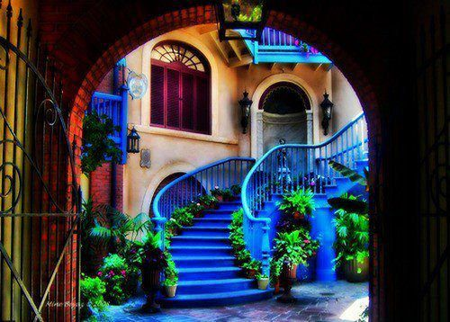 pretty blue: New Orleans, Stairs, Blue, Color, Stairca Design, Inspiration Pictures, Green Plants, House, Planets Earth
