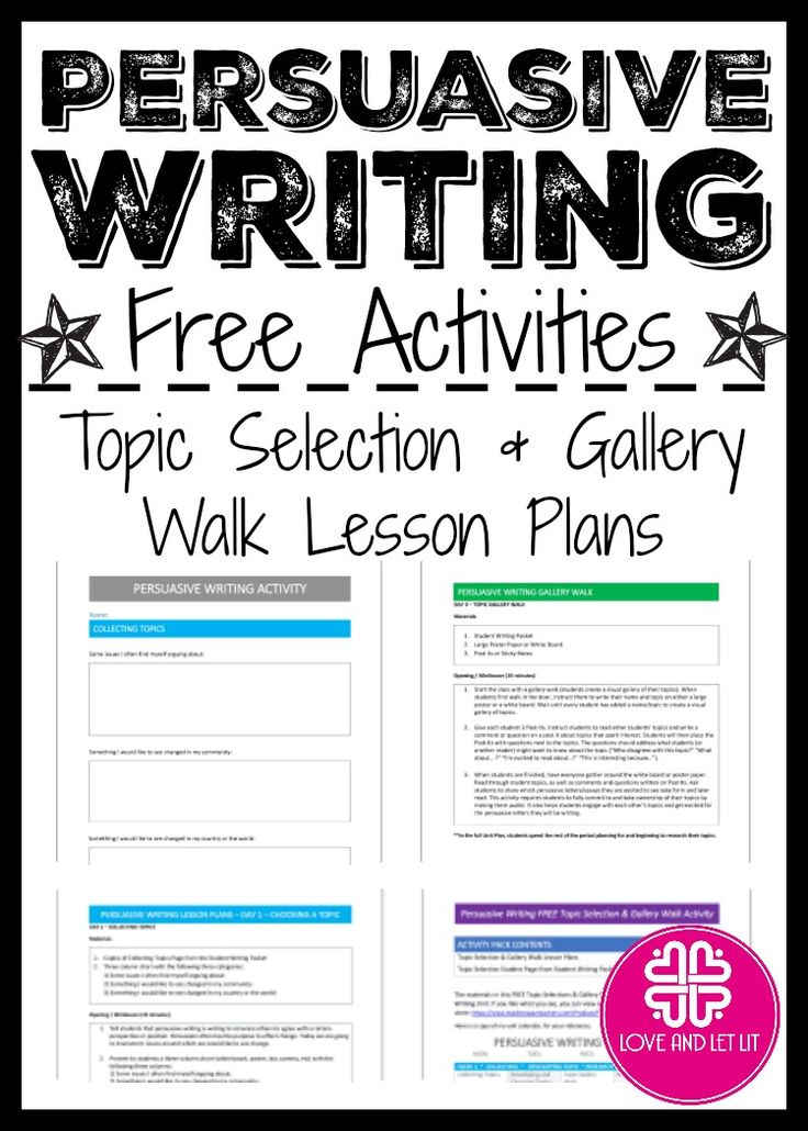 Persuasive & Argumentative Writing Activity for Topic Selection & a Gallery Walk