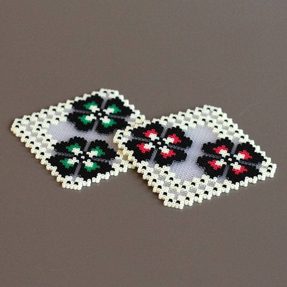 Glass Coasters handmade thousand ironed beads pansy by Leminussieu