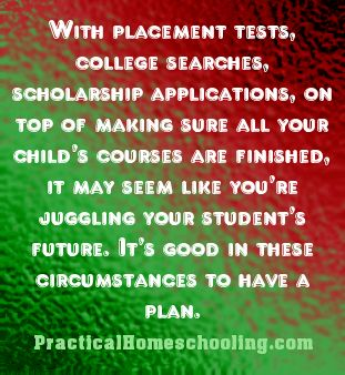 Meeting College Admission Requirements - With placement tests, college searches, scholarship applications, on top of making sure all your child's courses are finished, it may seem like you're juggling your student's future. It's good in these circumstances to have a plan.