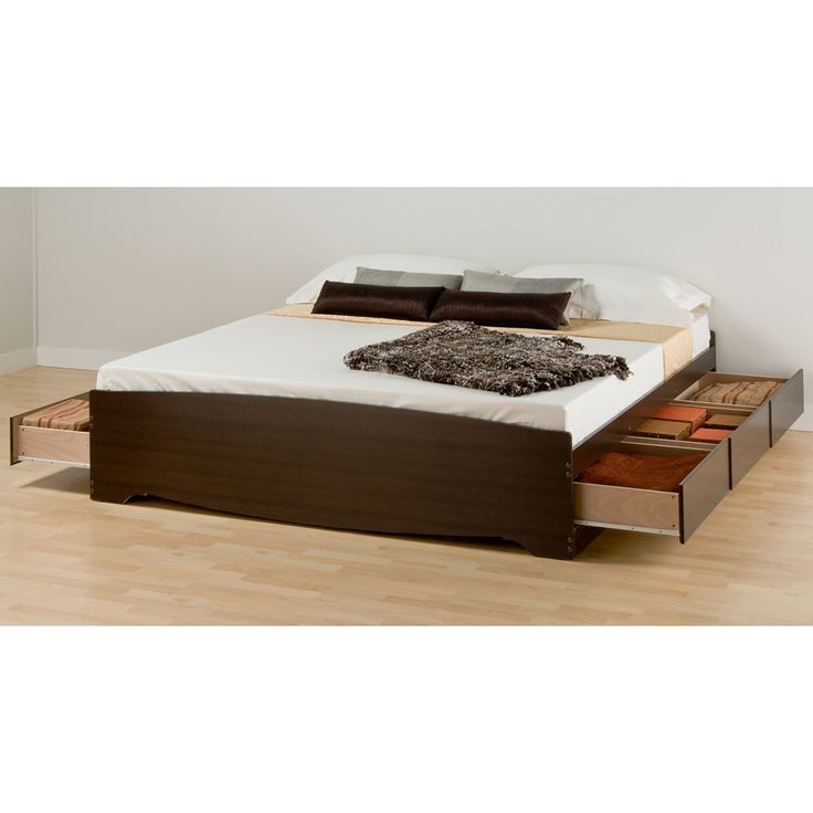 Manhattan Storage Platform Bed Without Headboard By Prepac