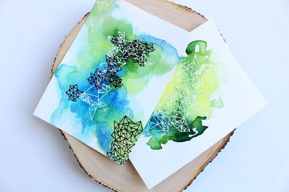 Watercolor postcards Hand painted cards postcard set