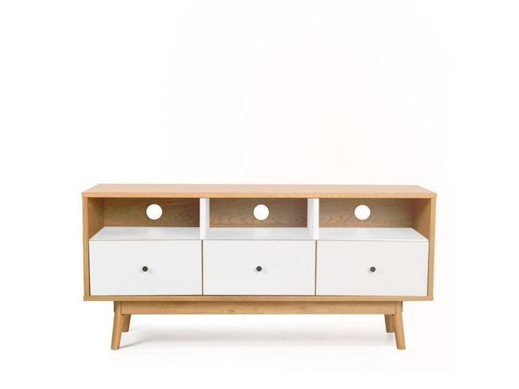 Meuble tv design scandinave 3 tiroirs skoll - couleur - blanc 9901-WHITE - Vente de Meuble tv - Conforama  Hauteur58 cm  Longueur40 cm  Largeur125 cm