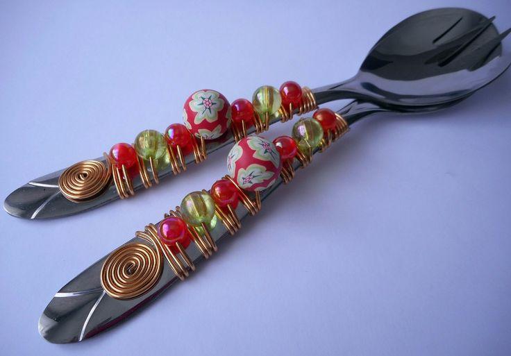 talheres para salada - talheres bordados com pedrarias