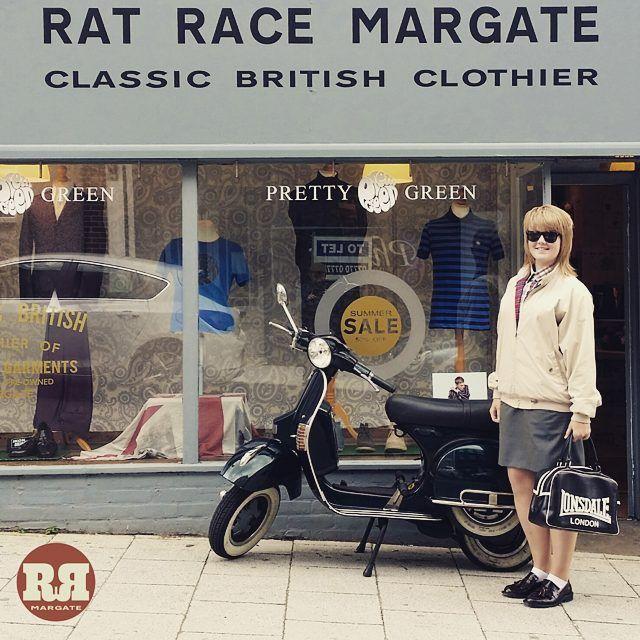 #ratracemargate Harrington Jacket, Relco Tonic Skirt, Relco Button Down Shirt & Ikon Bordo Tassel Loafers // #thenextgeneration .  #ratrace #margate #ikonoriginal #ikon #relco #relcolondon #warriorclothing #vespa #vespapx #prettygreen #drmartens #skinbyrd #skingirl #skinheadgirl #skinhead #skinheads #margateskins #merc #merclondon #classicbritishclothier