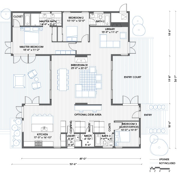 Blu Homes Breezehouse floorplan 3 bedroom with library