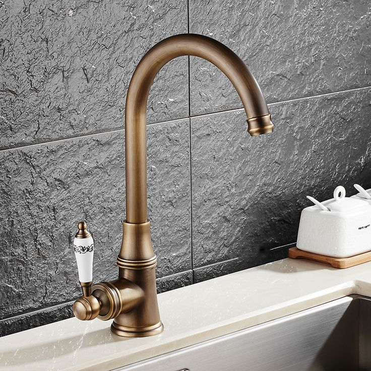 KCASA KC-9098 Retro Antique Brass Kitchen Sink Faucet Single Handle Rotation Spout Deck Cold and Hot Water Mixer Tap