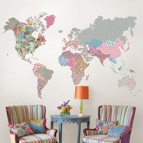 Superb Brewster Home Fashions Boho World Map Giant Wall Art Decal Part 16