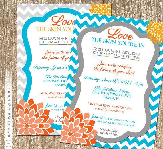 Chevron Bloom Rodan And Fields Event Invitation - beauty ...
