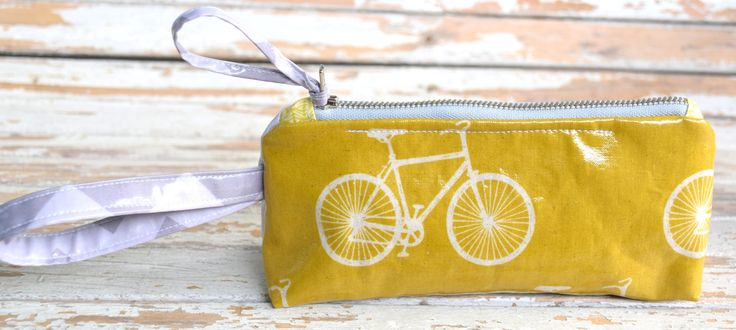 Wristlet-- Yellow Bicycle by NelleBushBags on Etsy