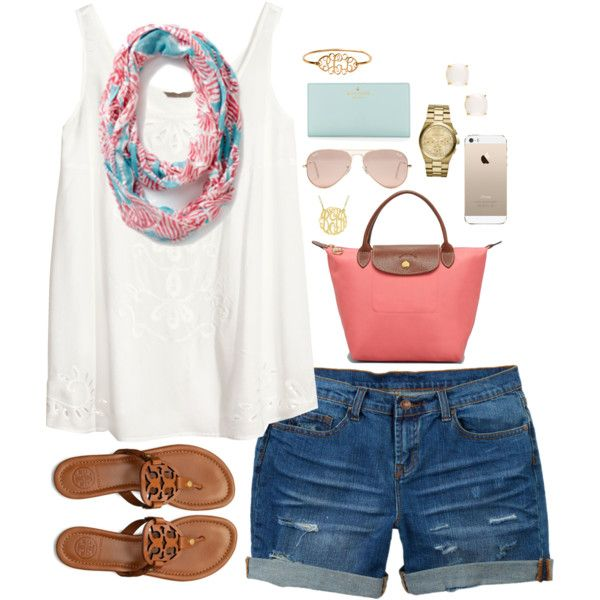 A fashion look from April 2014 featuring H&M tops, dELiA*s shorts and Tory Burch sandals. Browse and shop related looks.