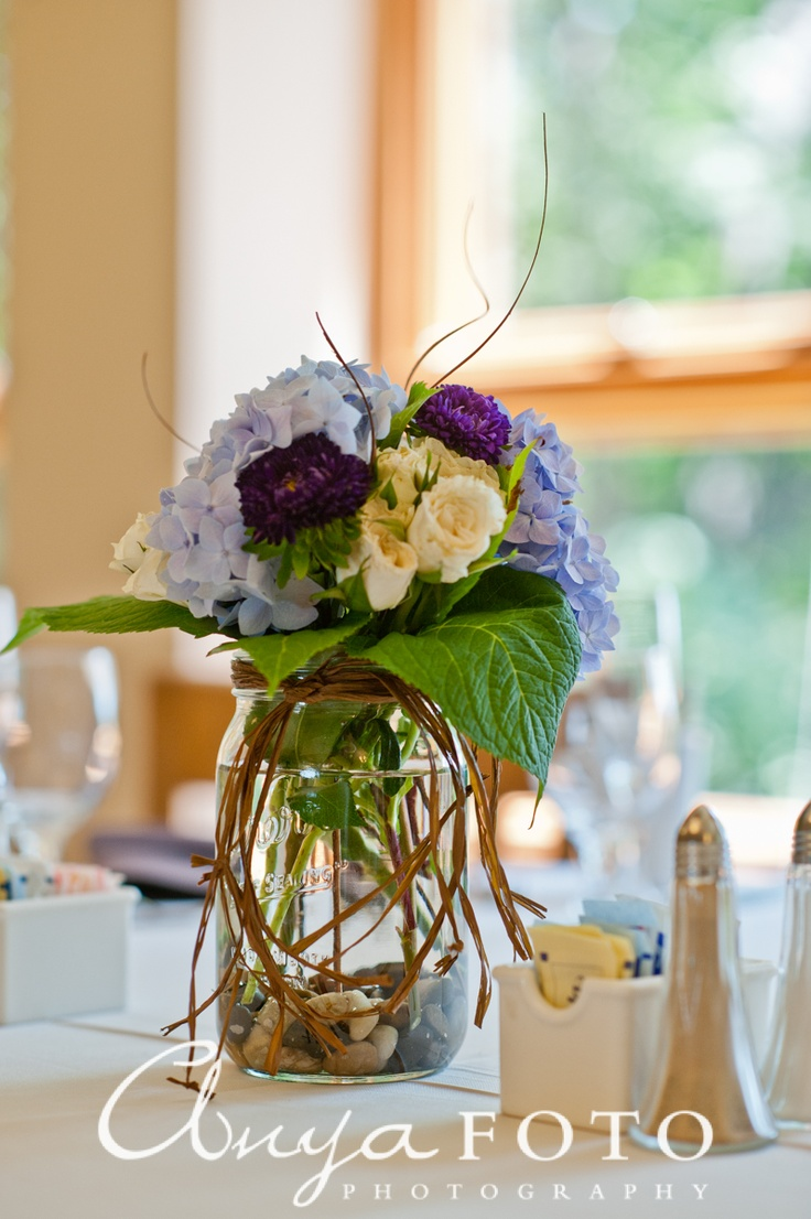wedding flowers tied bouquets blue brown