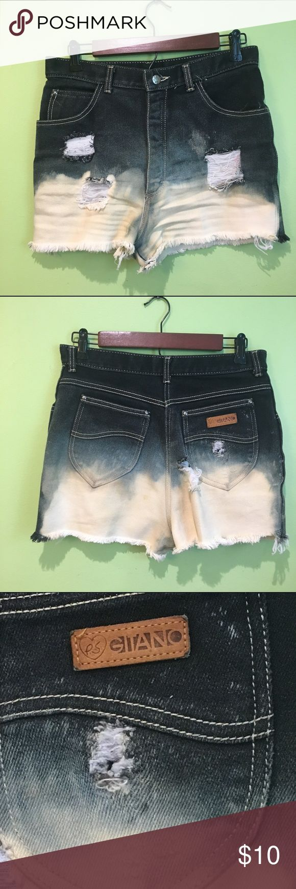 ☀️ Super Hot Homemade Highwaisted Umbre Shorts - Very cute Highwaisted homemade Jean Umbre shorts - Says it's a size 16 but fits like a size 28 - Looks very cute with a white shirt tucked in - I did accidentally make a hole on the back near the butt but it looks fine when they are put on - Very stretchy and comfortable - Never worn before - Feel free to make an offer!  Shorts Jean Shorts