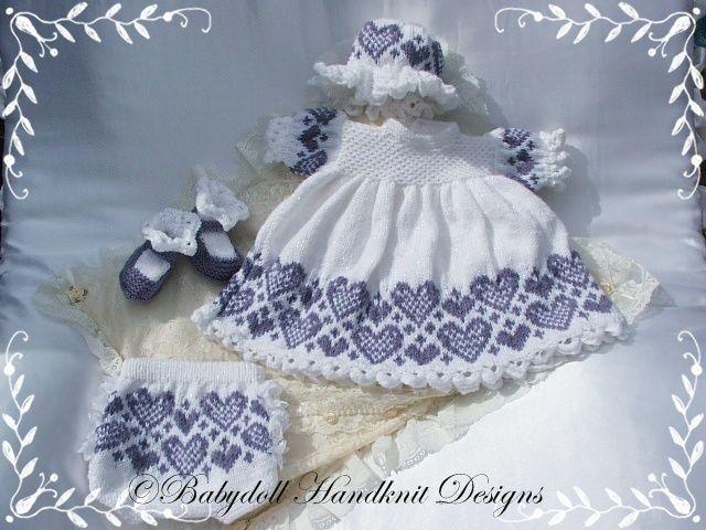 "Heart Patterned Dress Set 16-22"" doll/0-3m baby-Babydoll Handknit Designs, knitting pattern, victorian, reborn, doll, baby, dress"