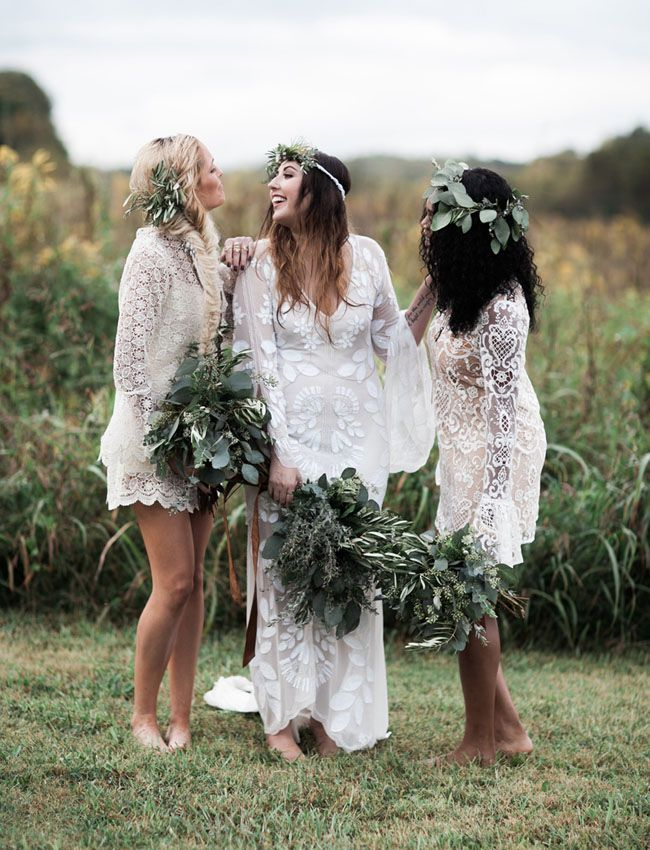 bohemian bride and her nridesmaids