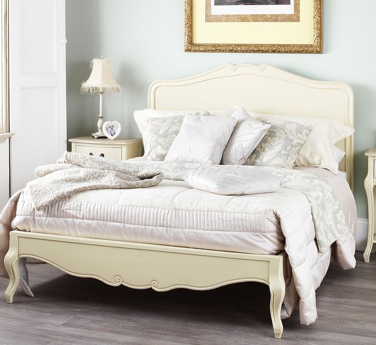 Juliette Shabby Chic Champagne Double Bed with wooden headboard: Amazon.co.uk: Kitchen & Home