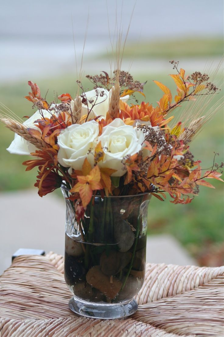fall flower arrangement on the cheap...maybe center piece for a fall wedding