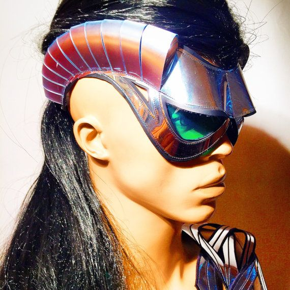cyborg goggles with horns and green glasses  futuristic by divamp
