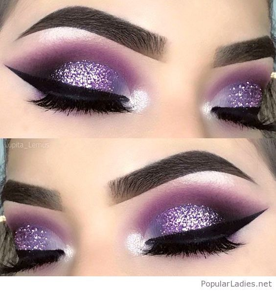 Amazing Purple And Glitter Eye Makeup En 2019 Maquillaje