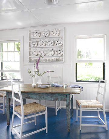 Beach Cottage Style: Dining Room, Idea, Beach House, Blue Floor, Kitchen, Cottage Style