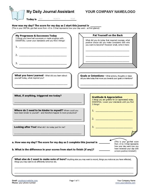 Have a client who's never journalled before and want to get them started? Want to help clients learn how their mindset affects their experience of life? This Daily Gratitude Diary template gets your clients started asking deeper questions and learning about journaling. http://www.thecoachingtoolscompany.com/products/my-daily-journal-assistant/