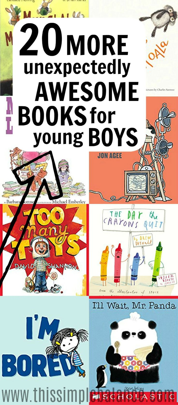 We LOVE making book lists to make your library trips easier. These books were huge hits with our young boys.! Many of them I would not have guessed would the picture books they asked for over and over again. And that's why these lists are called unexpectedly awesome books for young boys. We hope your boys enjoy these books as much as ours did! #booklists #booksforboys
