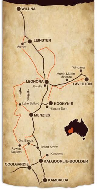 Map of the Goldfields tourism network. Western Australia