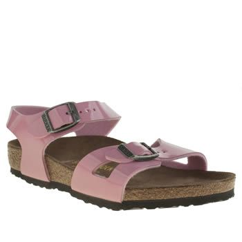 Birkenstock Pale Pink Rio Girls Junior Little girls can look pretty in pink, as Birkenstock downsize their Rio for kids. The glossy patent two-part upper features functional buckle straps for a custom fit, attached to a leather insole for  http://www.MightGet.com/january-2017-13/birkenstock-pale-pink-rio-girls-junior.asp