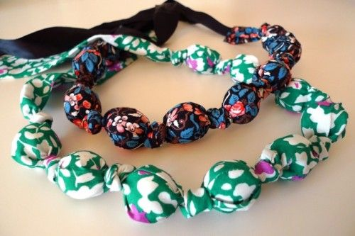 fabric necklace tutorial - made this:  easy instructions.  I added a gauze ribbon to mine for length and frills.