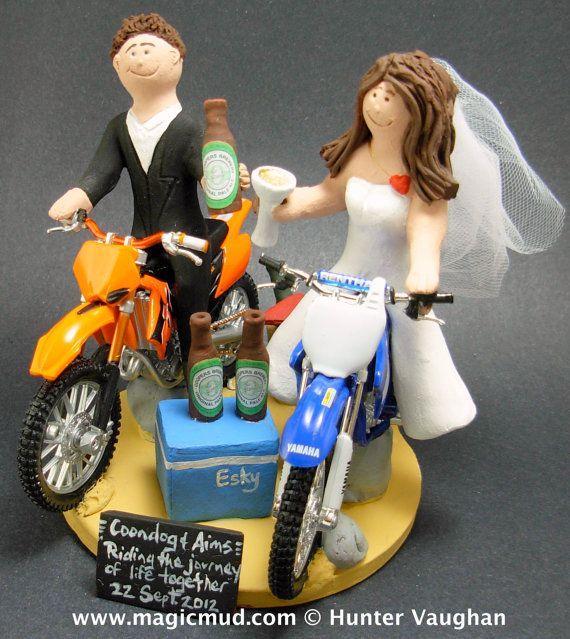 Dirt Biker's Wedding Cake Topper    KTM, Honda, Suzuki,Yamaha, Kawasaki….any model of dirt bike can be incorporated into your off road motorcycle wedding cake topper, custom created just for your wedding    $235   #magicmud   1 800 231 9814   www.magicmud.com