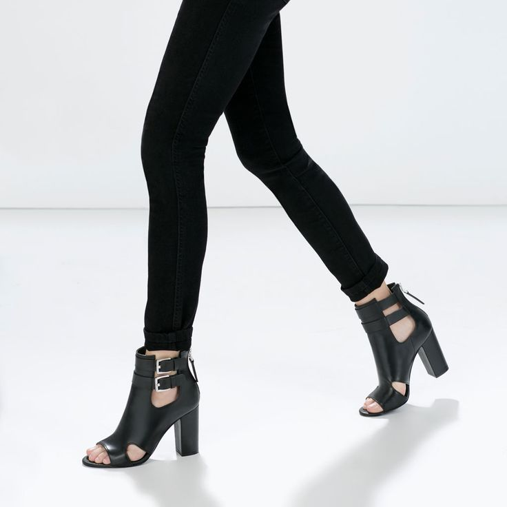 Image 4 of CUT-OUT LEATHER ANKLE SANDALS from Zara