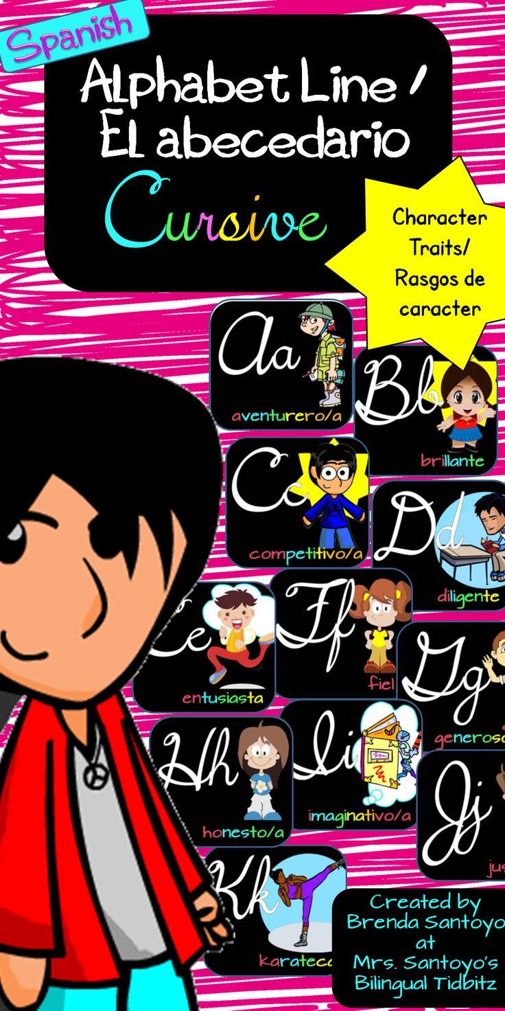 Spanish Alphabet Line with Character Traits - Cursive $