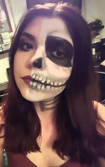 Half skull makeup halloween sfx
