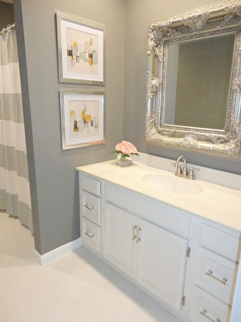 Benjamin Moore Chelsea Gray. It's a beautiful deep gray that works really well with almost anything. It feels modern and inviting without feeling too dark or heavy.