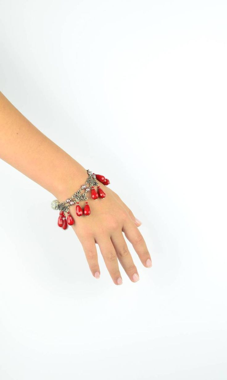Wear this gorgeous red necklace TEN different ways - one way is to wear it as a bracelet. Attraxionz Modular Magnetic Jewellery - designed & handmade by Kassandra Behrendt #attraxionz #modular #magnetic #valentinesdaygifts #fashion
