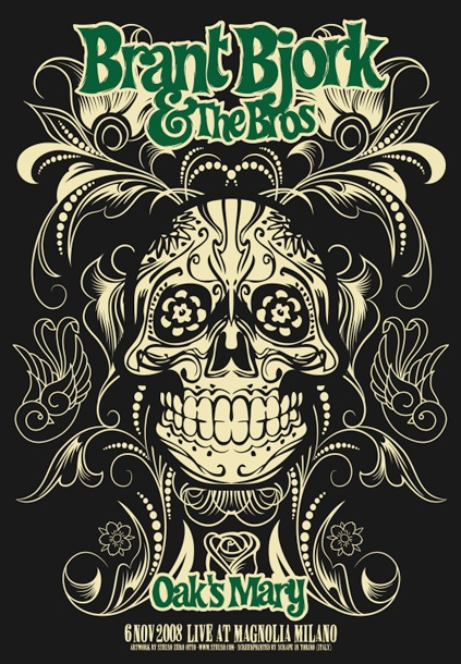 Brant Bjork & The Bros (6 Nov.2008 at Magnolia, Milano,IT)  rock music psychedelic concert poster ☮ ☮ Hippie Style ☮ ☮