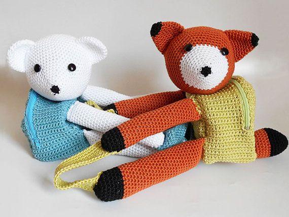 Patrón de gancho para mochilas de oso y zorro