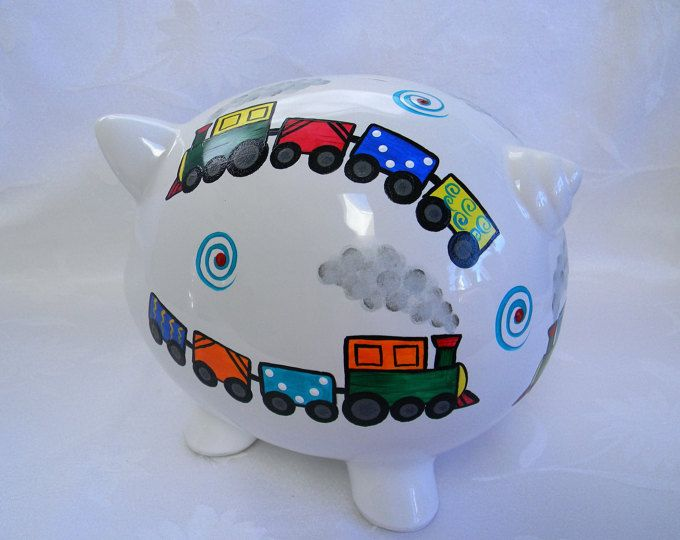 Piggy bank with trains, Personalized Piggy bank,hand painted piggy bank, childrens piggy, personalized bank, nursery decor, baby accessories