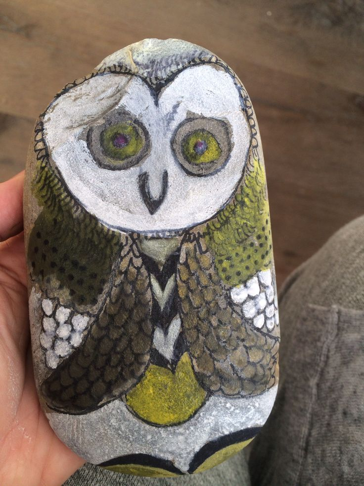 Fun with kids painting rocks. Owl