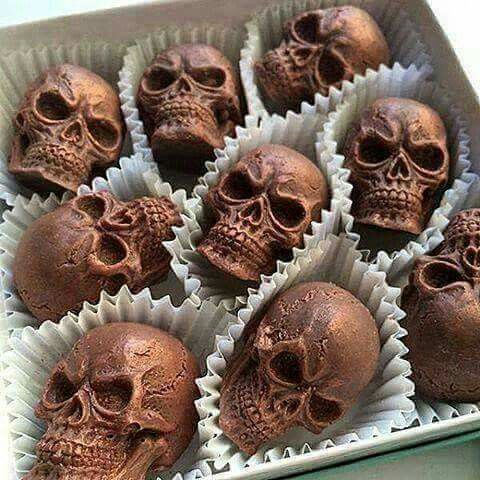 Chocolate skulls - deliciously dark! If only the chocolate were dark too.