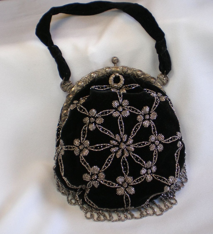 Victorian Purse ; Velvet & Cut Steel With White Metal Frame