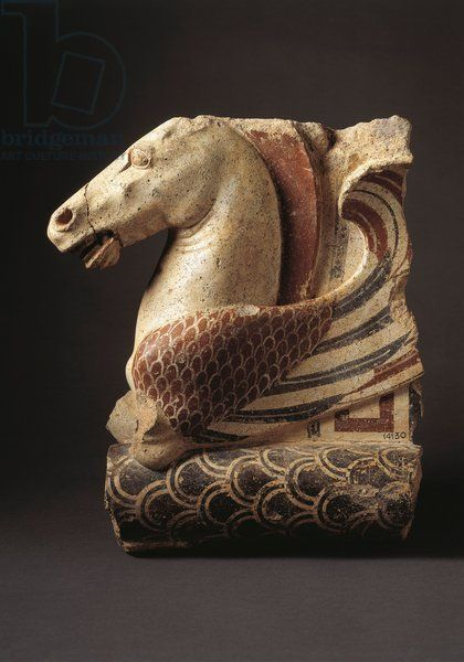 Fictile acroterium (architectural ornament) representing Pegasus, 450/430 B.C Artwork-location: Città Del Vaticano, Vatican Museums, Etruscan Museum