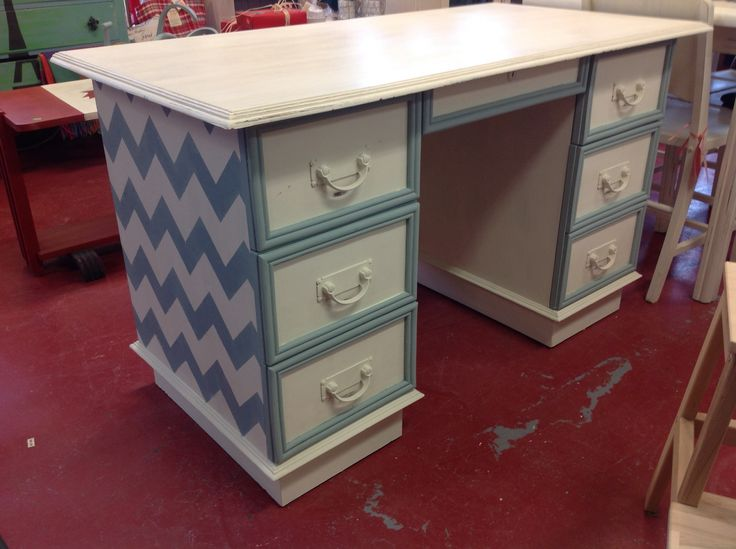 Desk painted in old white and duck egg chalk paint™ decorative paint by Annie Sloan. Stencilled with a chevron stencil clear wax by Annie Sloan, has since been distressed