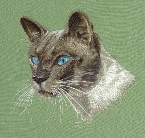Needle Painting Embroidery Commission - Siamese Cat a Hand Embroidery Design as an Alternative to Cross-stitch.