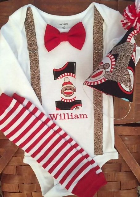 Sock Monkey Cake Smash Baby Boy 1st Birthday Outfit by SewAdorbs