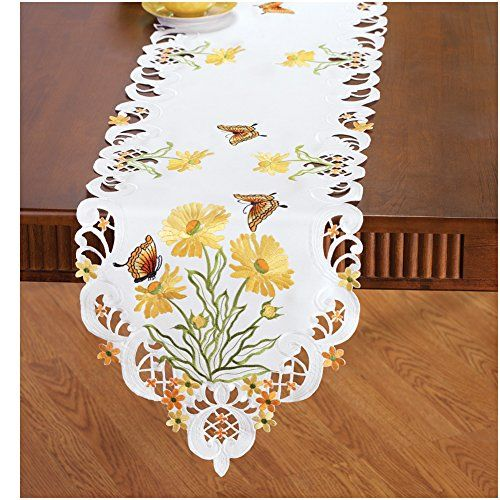 Embroidered Blossoming Butterfly Table Linens, Runner Win...